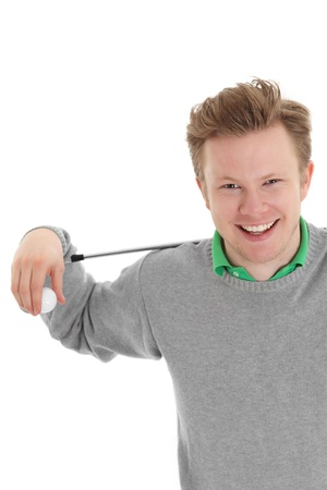Happy golfer holding a golfball and club. Wearing a grey pull over. White background.