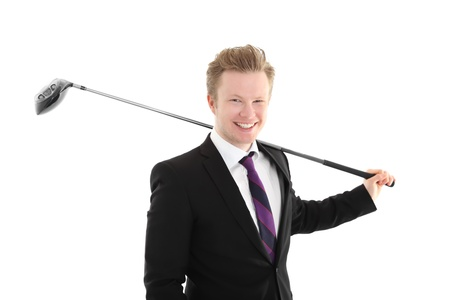 Young happy businessgolfer. Wearing a black suit and purple tie. White background.