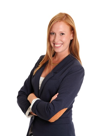 Smiling businesswoman wearing a jacket  White background  photo