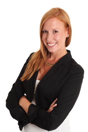 Smiling businesswoman  Red hair with a black jacket  White background