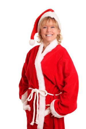 Christmas is here  Female santa with white background
