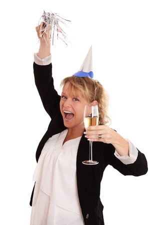 Hey its a party  Female in party hat holding a party blower and champagne glass  White background  photo