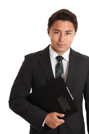 Young businessman with a folder. White background.