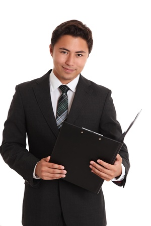 Young businessman with a folder. White background. Stock Photo - 17424679