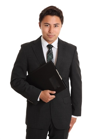 Young businessman with a folder. White background. Stock Photo - 17424683