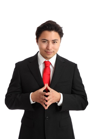 Lets make money! Businessman gesturing with hands, wearing a suit and tie. White background.