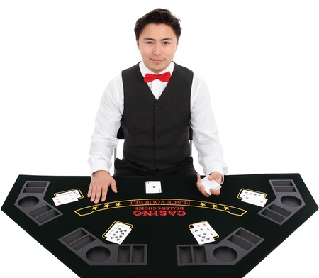 Black jack dealer with cards, wearing a vest and red bow tie. White background.