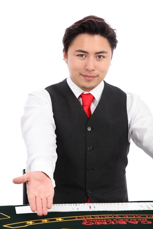 Black jack dealer with cards, wearing a vest and red tie. White background.