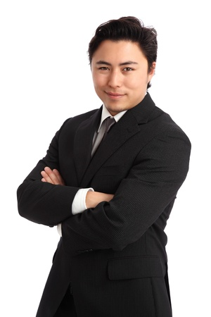Young businessman wearing a suit and tie  White background  photo