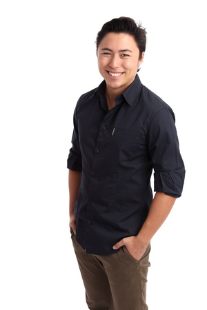 Young confident and happy man in a blue shirt against white background. photo