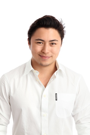 Close up of a young man in a white shirt  White background  photo