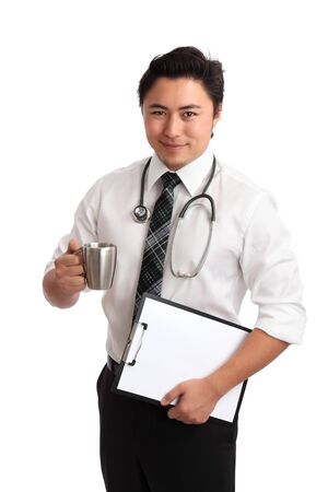 Young Doctor holding a folder and coffee cup, wearing a white shirt and tie  White background