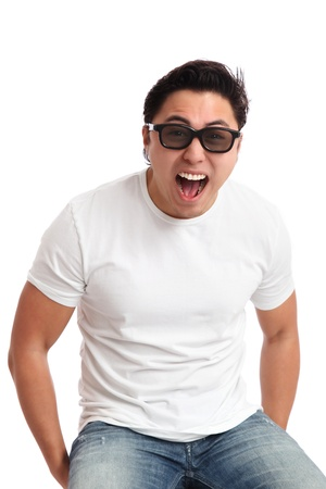 Man in a white t-shirt wearing 3D glasses, watching  White background