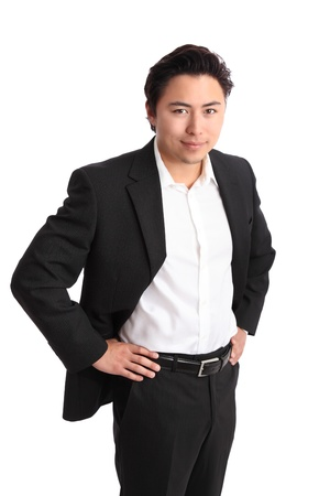 southeast asian ethnicity: Young relaxed businessman wearing a suit  White background