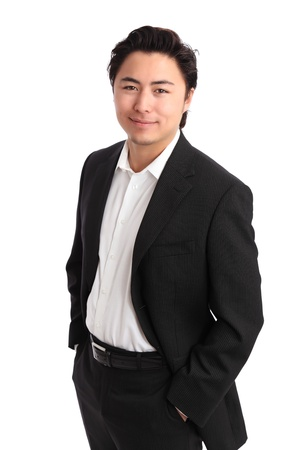 Young relaxed businessman wearing a suit  White background