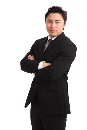 Young businessman wearing a suit and tie  White background  Stock Photo