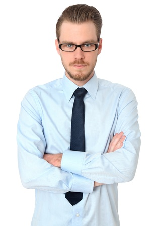 Young casual man in a blue shirt wearing glasses  White background
