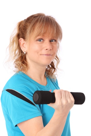 Woman working out wearing a blue shirt  White background  photo