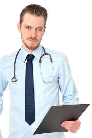 Young doctor wearing a blue shirt with a blue tie, with a stethoscope around his neck  White background  Stock Photo