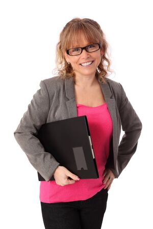 Businesswoman with a folder  Wearing a pink shirt and grey jacket  White background  photo