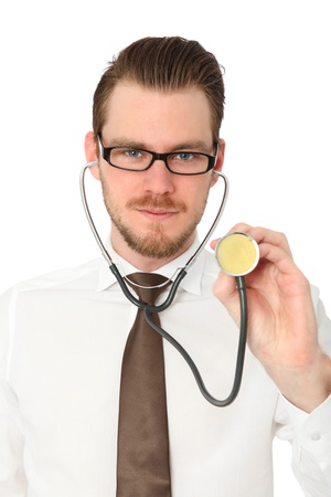 Young doctor wearing a White shirt and Brown tie, with a stethoscope around his neck  White background  Stock Photo - 19762038