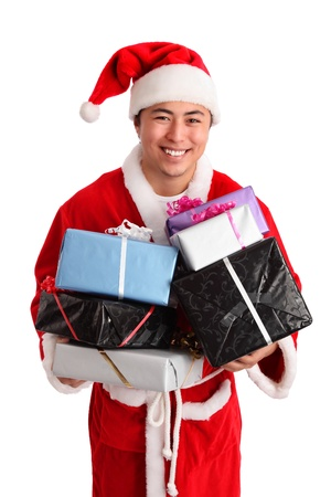 Young asian Santa claus wearing a suit and hat  White background  photo