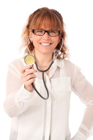 Female doctor with stethoscope wearing a white shirt  White background  photo