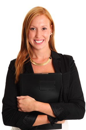 Attractive businesswoman holding a document wearing a black suit  White background  photo