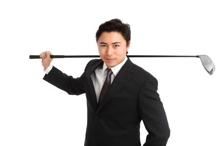 Young happy businessgolfer  Wearing a black suit and tie  White background  photo