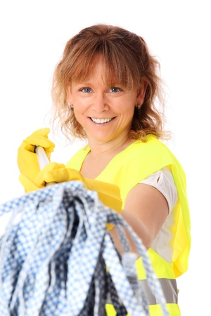 reflective vest: Cute woman cleaning with a mop, wearing a reflective vest  White background  Stock Photo