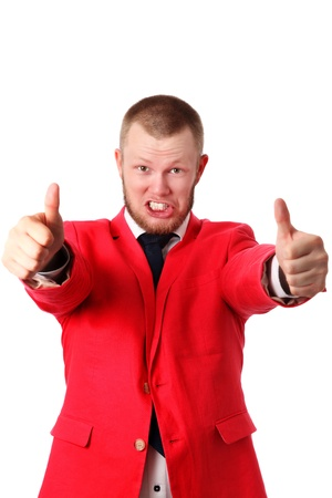 Young businessman in a red jacket doing thumbs up with both hands  White background  photo