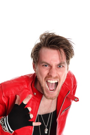 Cool looking rocker guy wearing a black tank top and a Red leather jacket, with torn jeans  White background  photo