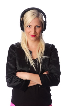 Attractive woman wearing headphones and a black jacket  White background  photo