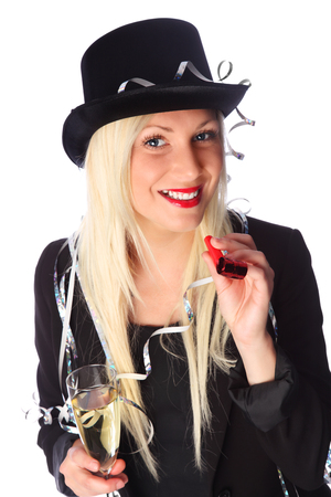 Beautiful party lady wearing a black dress and top hat holding a blower and champagne glass  photo