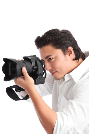 Good looking young man photographing, wearing a shirt  White background