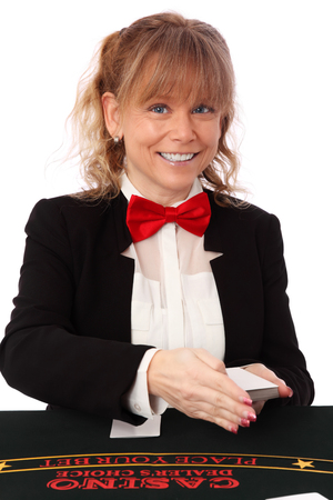 Blonde mature casino worker, wearing a black blazer with a red bow tie  White background