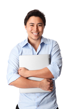 Young attractive student wearing a blue shirt and black pants  White background  photo