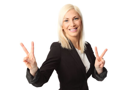 Attractive businesswoman wearing a black jacket and white shirt  White background  photo