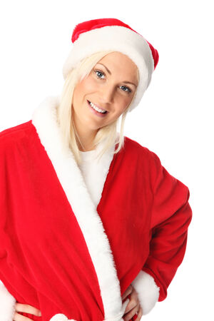 mrs santa claus: Cute and attractive young santa claus  Wearing a red hat and costume  White background
