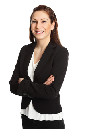 satisfied people: A young attractive businesswoman in her 20s, standing isolated on a white background wearing a black suit and white shirt. White background.