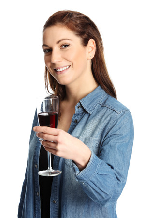 taster: A young and attractive woman wearing a jeans shirt and holding a glass of red wine. White background.
