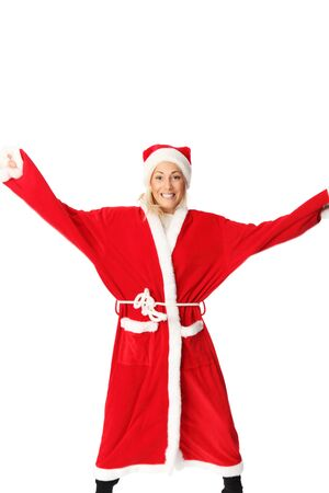 mrs santa claus: Crazy santa claus in blonde hair jumping. Wearing a red suit and hat. White background.