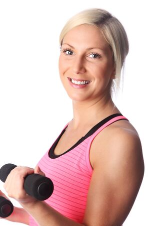 schöne augen: Schwedisch gut aussehende blonde Frau in ihrem 20s tr�gt eine rosa Hemd und schwarzen Hosen, der Arbeit aus. Wei�en Hintergrund. Lizenzfreie Bilder