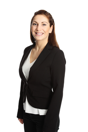 on a white background: A young professional businesswoman wearing a suit and white shirt. White background.