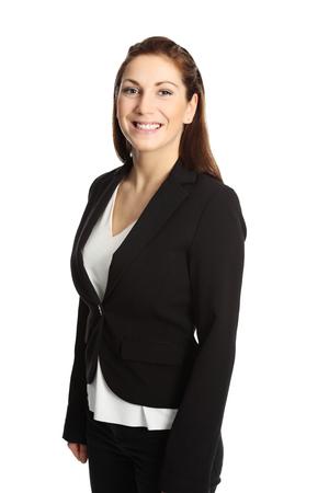fondo blanco: Una joven empresaria profesional con un traje y camisa blanca. Fondo blanco. Foto de archivo
