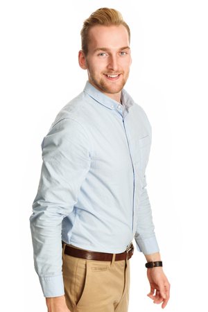 khaki pants: A man in 20s wearing a blue shirt and beige pants.