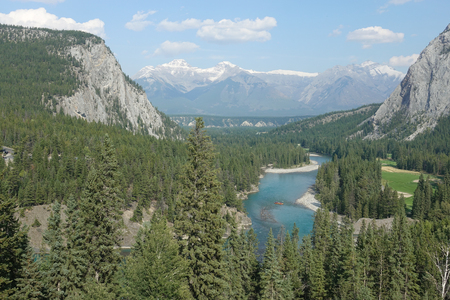 Banff Bow River Vista Stock Photo