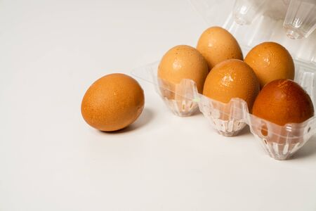 Bad economy and epidemics are making high-priced chicken eggs and have to detain products. Stock Photo