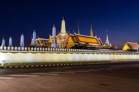 In Bangkok with Wat phra kaew temple at twilight time, The grand palace temple of the emerald buddha, official name is Wat Phra Si Rattana Satsadaram are travel destination in Bangkok, Thailand.