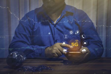 Concept of the new 5G technology wireless network systems and internet of things.